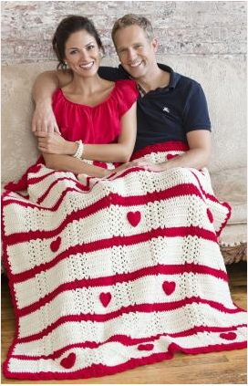 Crocheted Blanket with Hearts